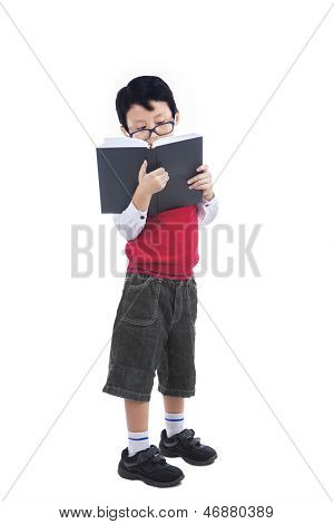 Asian Nerd Boy Reading Book - Isolated