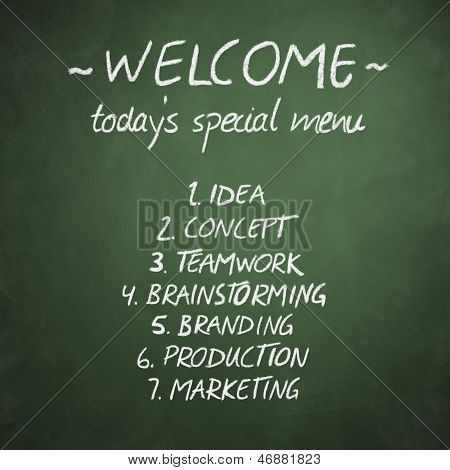 Menu On Chalkboard With Business Concept Words