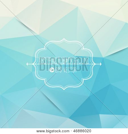 Abstract geometric blue background with frame and arrows