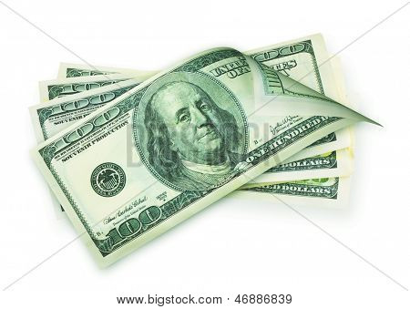 Money cash, american hundred dollar bills isolated on a white background