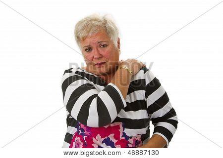Female Senior With Neck Pain
