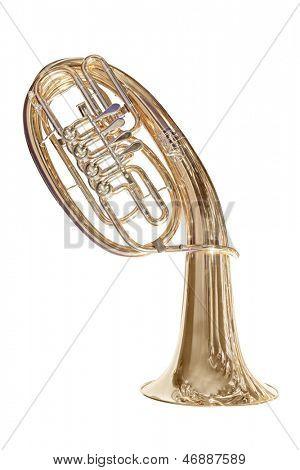 Tuba aislado bajo el fondo blanco