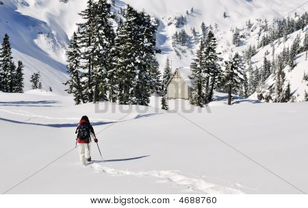 Snowshoeing Girl In Mt Baker - Snoqualmie National Forest