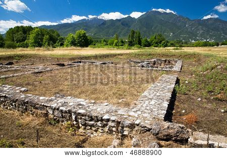 Ancient ruins in Dion, Greece.