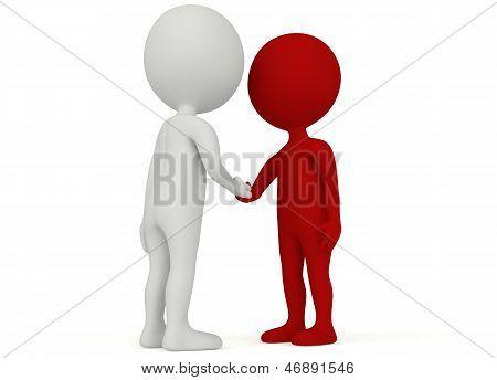3D Humanoid Character Shake Hands