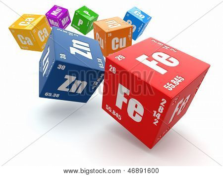 Concept of chemistry. Periodic table of element on cubes 3d