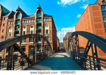 HAMBURG, GERMANY - SEP 4, 2011: famous old Speicherstadt in Hamburg build with red bricks