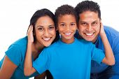 stock photo of indian blue  - close up portrait of happy indian family - JPG