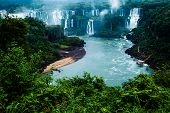 stock photo of cataract  - Iguassu Falls the largest series of waterfalls of the world view from Brazilian side - JPG