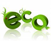 Постер, плакат: 3D текст с отражением «эко»