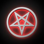 foto of pentacle  - Magic pentacle with red backlight effect on the black background - JPG