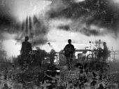picture of pop star  - Grunge black and white illustration of a musical group performing on stage at a concert - JPG