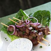 picture of souvlaki  - Lamb kebabs with tzatziki yogurt and red onions - JPG