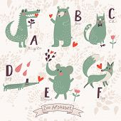 Cute zoo alphabet in vector. A, b, c, d, e, f letters. Funny animals in love. Alligator, bear, cat, dog, elephant, fox. poster