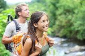 stock photo of couples  - People hiking  - JPG