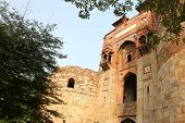 pic of mughal  - Fortified entrance to the historic Mughal fort of Purana Qila - JPG