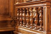 pic of courtroom  - a luxurious wooden banister in a courtroom or a convention hall - JPG