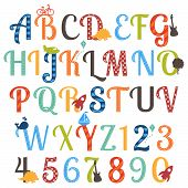 image of alphabet  - Cute Retro Style Boy Themed Vector Alphabet Set - JPG