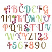 stock photo of quilt  - Girly Alphabet Vector Set  - JPG