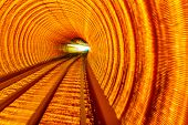 Golden Highway Rail Abstract Underground Railway Bund Shanghai China