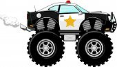 picture of monster-truck  - monstertruck police car 4x4 cartoon isolated on white background - JPG