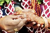 stock photo of indian wedding  - Horizontal color capture taken at a hindu wedding in Surat India - JPG