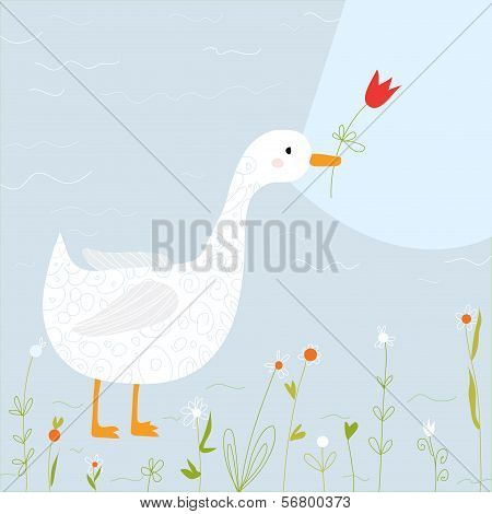 Spring greeting card with goose and flowers