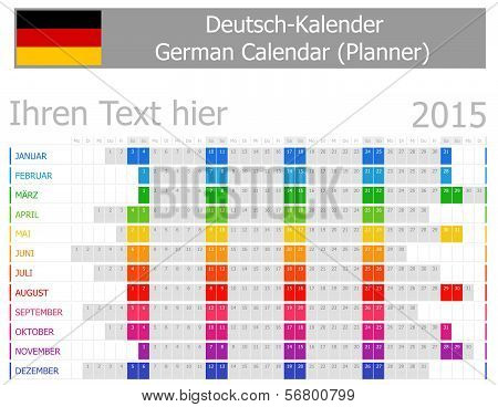 2015 German Planner Calendar with Horizontal Months
