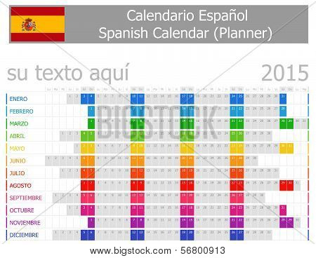 2015 Spanish Planner Calendar with Horizontal Months