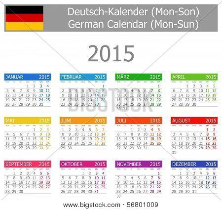 2015 German Type-1 Calendar Mon-Sun