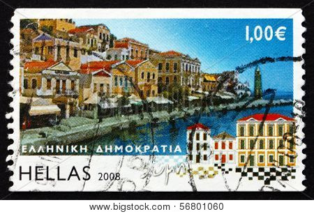 Postage Stamp Greece 2008 Symi, Island View