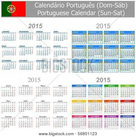 2015 Portuguese Mix Calendar Sun-Sat