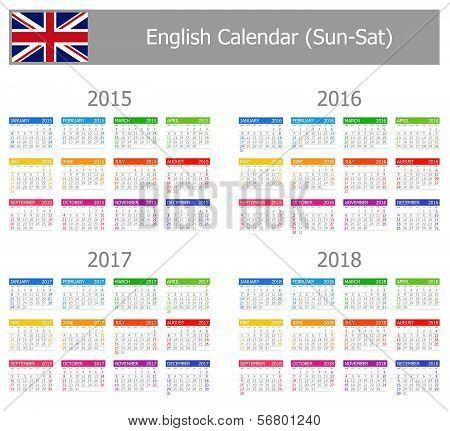 2015-2018 Type-1 English Calendar Sun-Sat