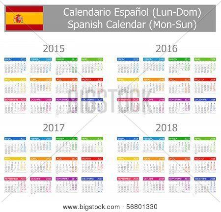 2015-2018 Type-1 Spanish Calendar Mon-Sun