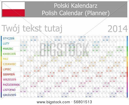 2014 Polish Planner-2 Calendar with Horizontal Months