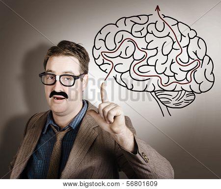 Creative Man Thinking Up Brain Illustration Idea