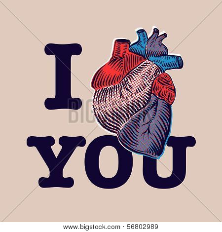 Valentine's Day card with human heart.