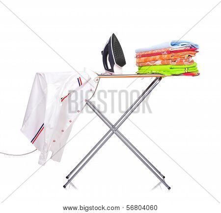 Ironing Board With A Man's Shirt