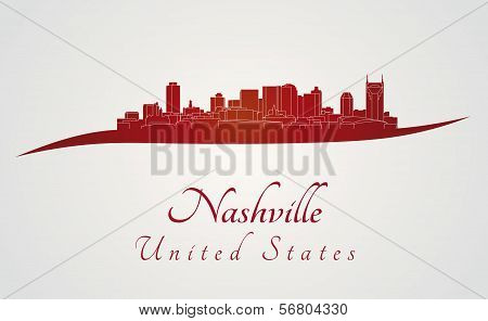 Nashville Skyline In Red