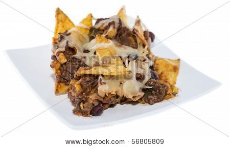 Nachos With Chili Con Carne On White