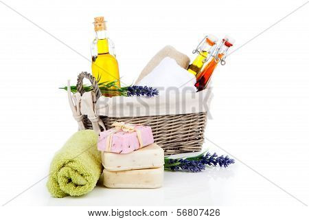 Toiletries For Relaxation, Isolated On White Background..
