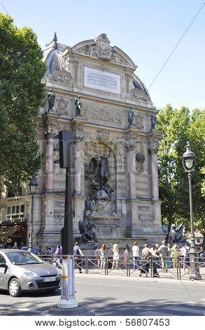 PARIS,FRANCE-AUGUST15-Fountain Saint Michel in Paris France