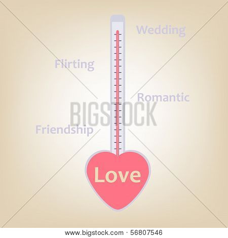 Love Stages And Levels In Termometer Measure  Concept With Heart Shape Valentines Day  Holiday Greet