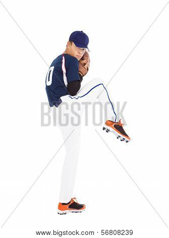 Baseball Player Pitcher Ready Pose Throwing Ball