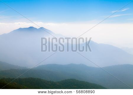 Beautiful Foggy Landscape In The Mountains, Chiang Mai, Thailand