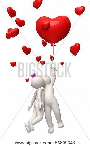 3D Couple Flying With A Red Heart Balloon Valentines Day