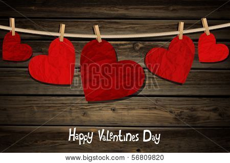 Hearts On A Wood Background