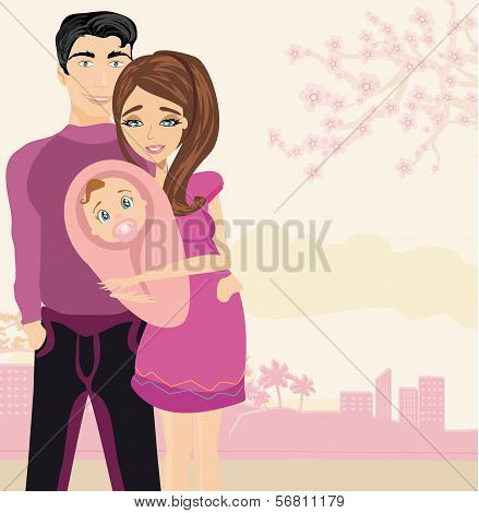 Happy Young  Couple With Newborn Baby.