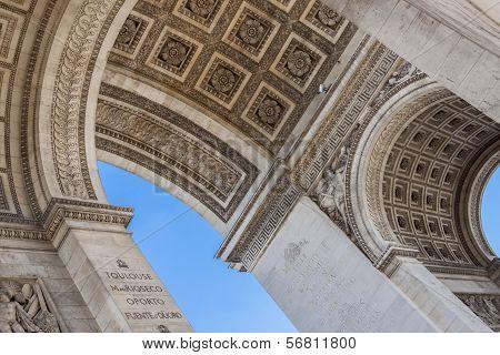 Close Up Details The Arc De Triomphe In Paris