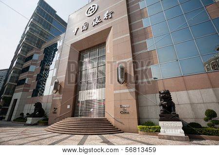 MACAU, CHINA - NOVEMBER 2, 2012: The building is the main office of the Bank of China in the central area of modern Macau. In Macau have their offices of many large international banks.